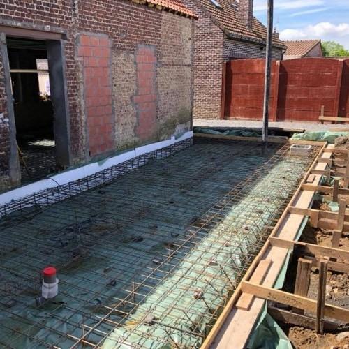 Terrassement, radier extension et dalle de béton intérieur