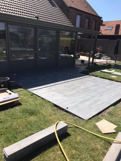 Terrasse en cours de construction