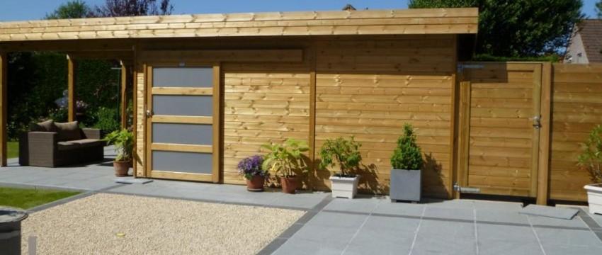 Abri de jardin toit plat en bois avec terrasse