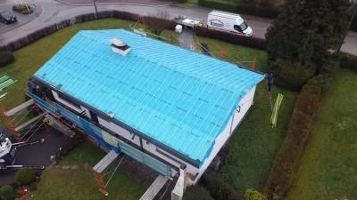 Rénovation d'une toiture complète en ardoise avec isolation système sa