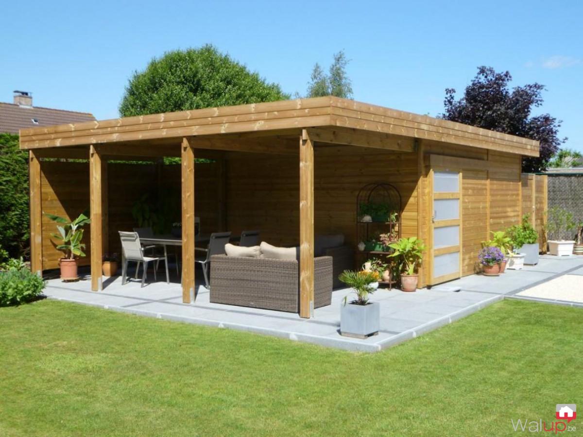 abri de jardin toit plat en bois avec terrasse par veranclassic v randas et constructions de. Black Bedroom Furniture Sets. Home Design Ideas