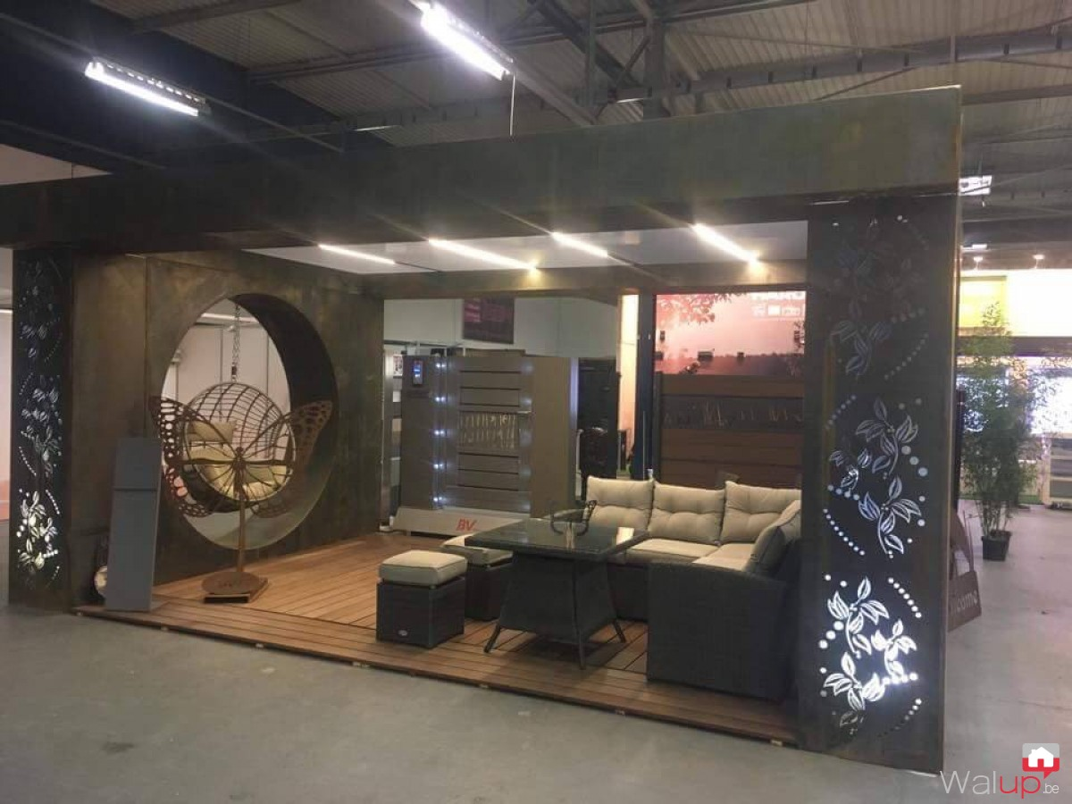 Cr ation du stand d co jardin tournai expo par bv ferronnerie for Stand expo deco